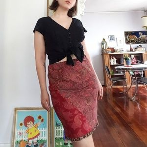 Vintage Paisley Silk Skirt by Express